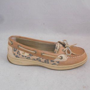 Sperry Brown Leather Boat Shoes Leopard Print